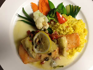 Grilled salmon with the saffron rice and  seasonal vegetables
