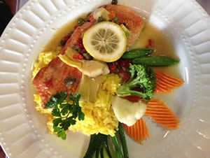 Sockeye Salmon Piccata with saffron rice